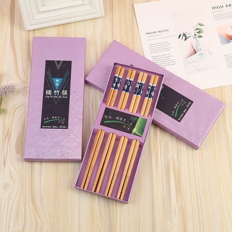 厂家直销礼品楠竹筷子高档礼盒8双装 中国风原竹高档筷子批发货源