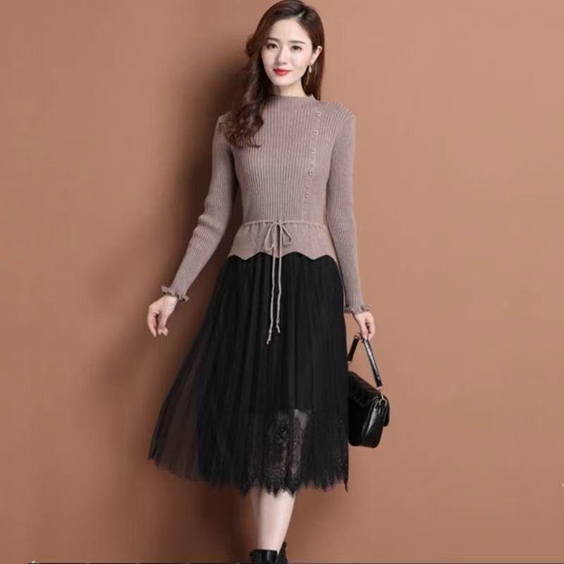 时尚羊绒长裙  包芯纱羊绒宽松版弹力强 90—140斤