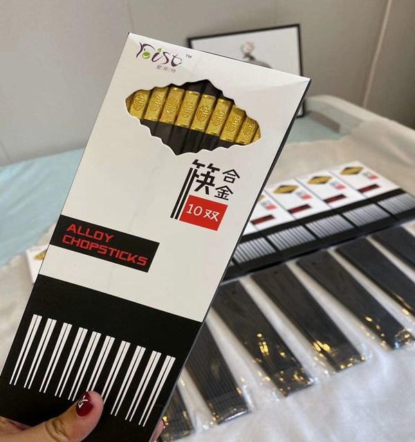 酒店家用高档合金筷防滑防霉耐高温10双消毒筷厂家批发