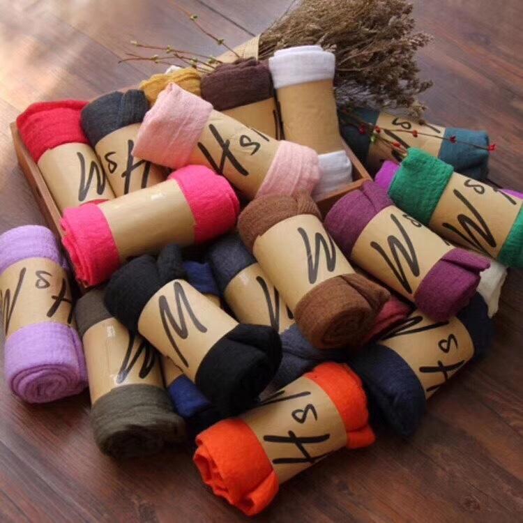 秋冬棉麻围巾女超大尺寸糖果色百塔沙滩巾纯色披肩活动赠送人礼品